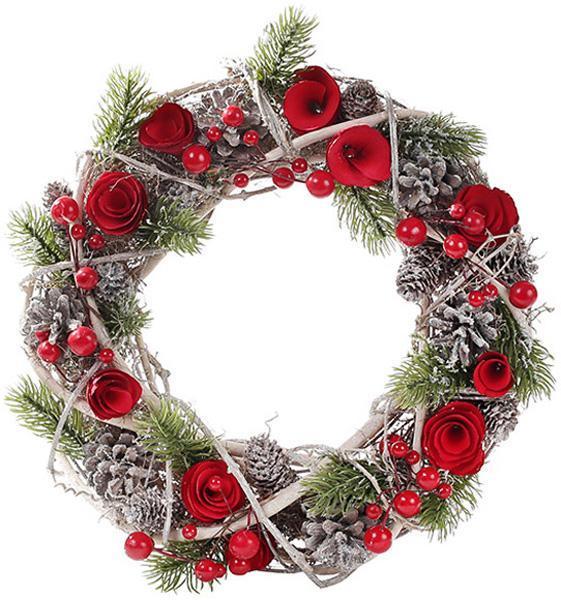 """Декоративный венок """"Красные розы"""" Ø30см"""
