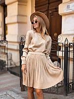 Женское вязаное платье с юбкой-гофре бежевого цвета