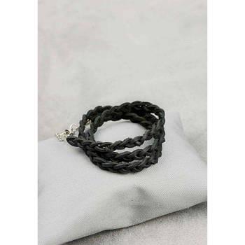 Женский кожаный браслет тонкая косичка черный