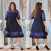 Женское платье-мидис гипюровой вставкой синее
