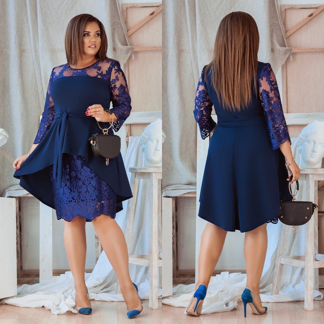 Женское платье-миди с гипюровой вставкой синее 3 расцветки