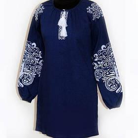 Женское темно синее вышитое платье лен