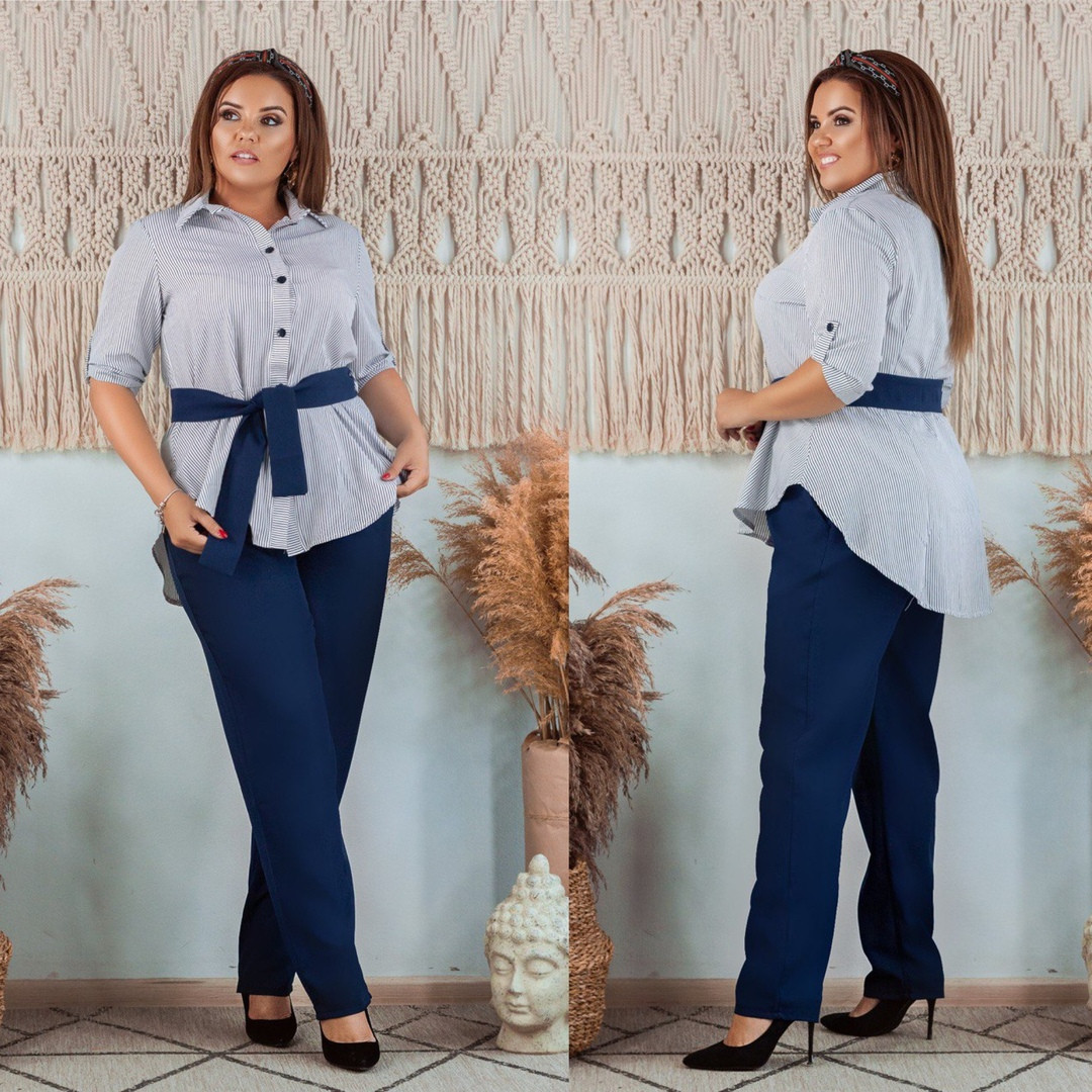 Женский костюм (блуза+брюки) синий в полоску