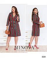 Стильное женское платье-пальто большого размера в клеточку с 50 по 56 размер