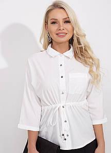 Стильная приталенная блуза-рубашка (42-48)