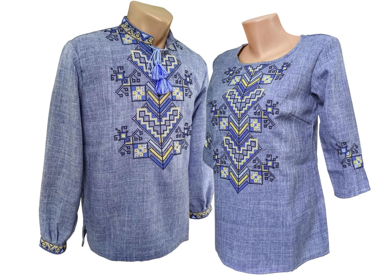 Женская Вышиванка рубашка Льняная Джинс  Для пары р.42 - 54