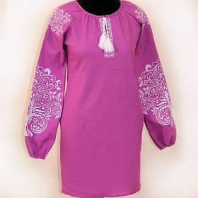 Женское фиолетовое вышитое платье лен
