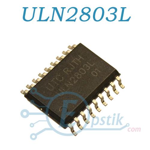ULN2803L, 8 транзисторов Дарлингтона, 500мА, 50В, SOP18