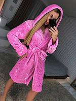 Яркий короткий махровый халат, фото 1