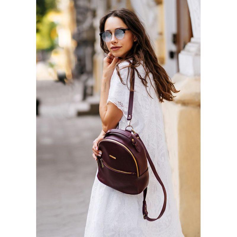 Кожаный женский мини-рюкзак Kylie Марсала