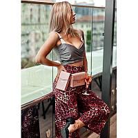 Набор женских розовых кожаных сумок Mini поясная/кроссбоди, фото 1