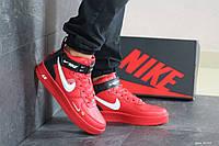 Мужские кроссовки Nike Air Force 1 Mid Utility University Red (найк аир форс 1 высокие, кожа, красные)