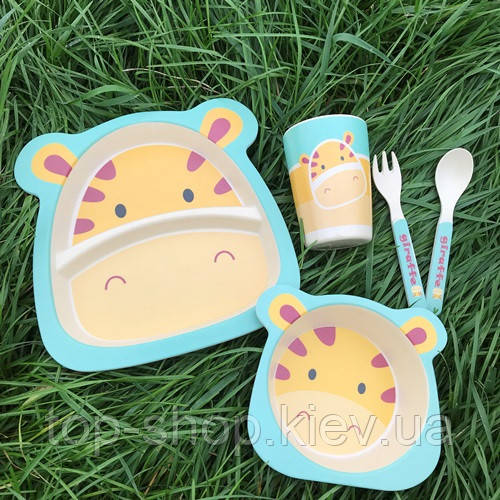 Бамбуковый набор детской посуды Жираф