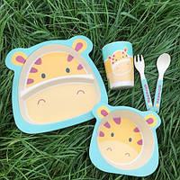 Бамбуковый набор детской посуды Жираф, фото 1