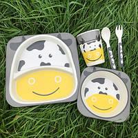 Бамбуковий набір дитячого посуду Корівка, фото 1
