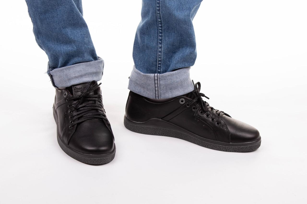 Осенние кеды мужские кожаные 40-45 чёрный тайфун