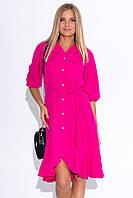 Платье-рубашка цвета фуксии. Модель 22386. Размеры 42-48