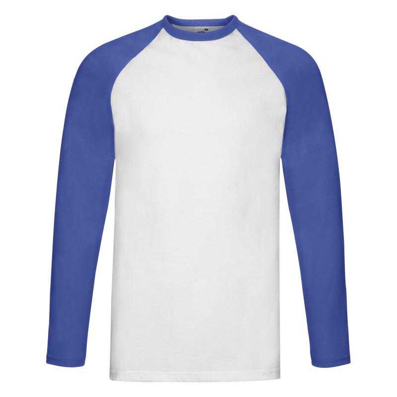 Мужская футболка Valueweight Long Sleeve Baseball T (Цвет: Белый / Ярко-синий; Размер: 2XL)
