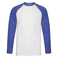 Мужская футболка Valueweight Long Sleeve Baseball T (Цвет: Белый / Ярко-синий; Размер: 2XL), фото 1