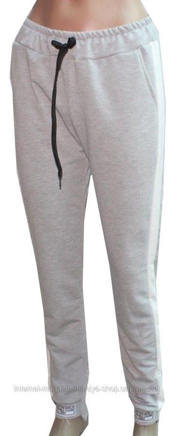 Спортивные штаны женские на манжете лампас 42-48 (деми)