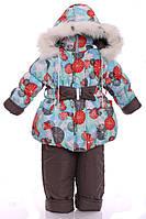 Зимний костюм для девочки Колокольчик с рисунком серый шар