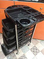 Тележка подставка на колесиках для салона с 5 выдвижными полками , цвет черный, фото 1