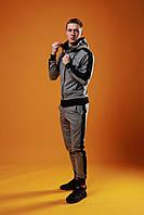 Мужской спортивный костюм с лампасами, спортивний костюм, мужской спортивный костюм с капюшоном (серый)