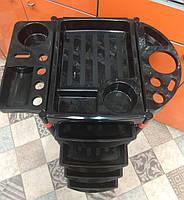 Тележка подставка на колесиках для салона с 4 выдвижными полками , цвет черный с красным, фото 1