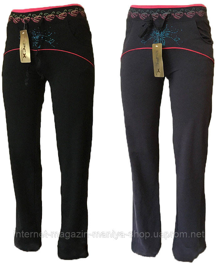 Спортивные штаны женские прямые стразы S-2XL (деми)