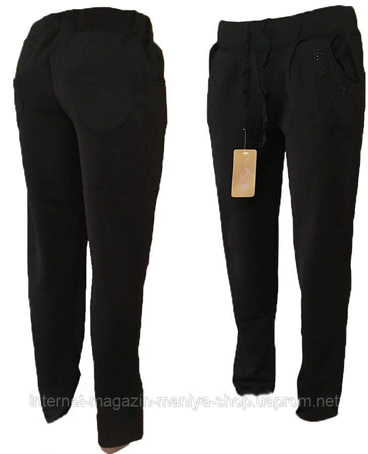 Спортивные штаны женские прямые стразы XL-5XL полубатал (деми)