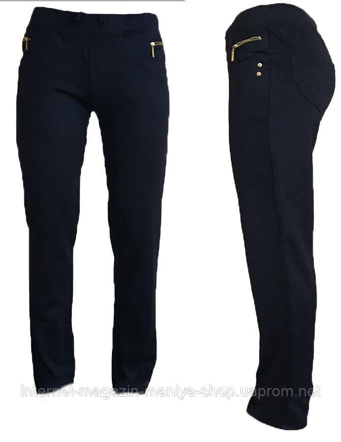 Спортивные штаны женские прямые карманы на змейке S-2XL (деми)