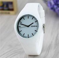 Стильные женские часы Geneva силиконовый ремешок (Белые)