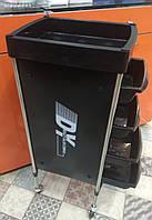 Тележка подставка на колесиках для салона с 4 выдвижными полками , цвет черный, фото 1
