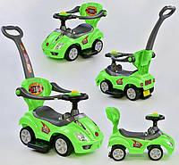 Машина-толокар 2027-G, цвет зеленый, родительская ручка, 5 мелодий, съемный защитный бампер, багажник