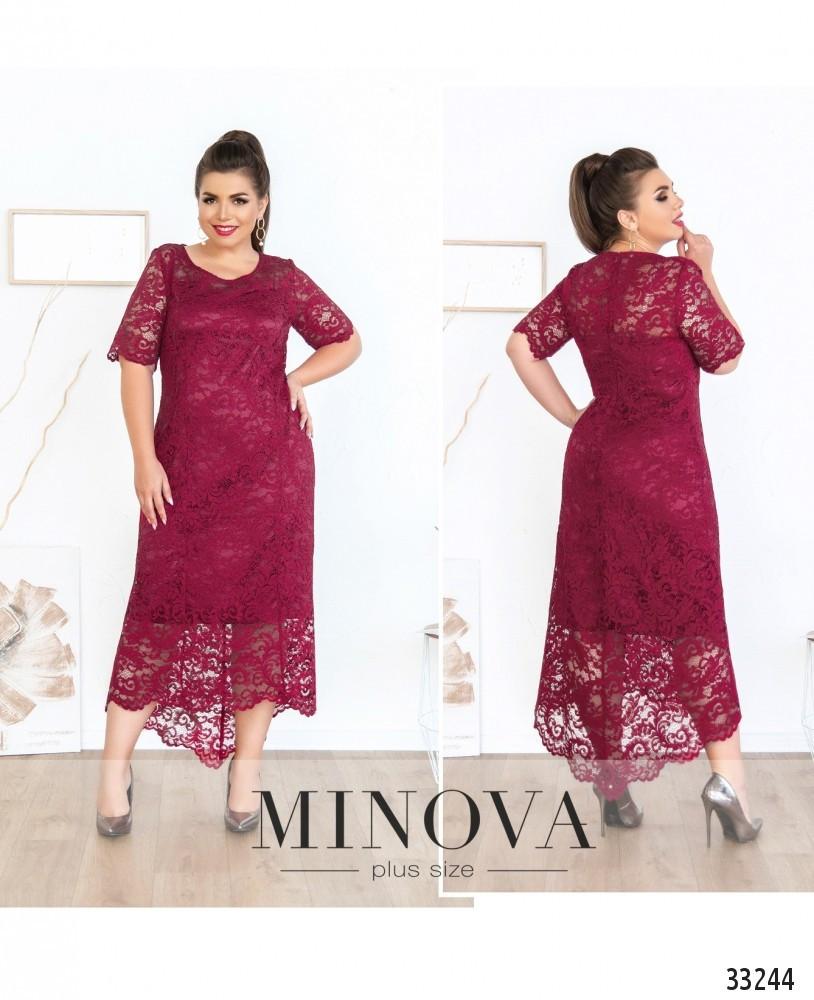 Красивое нарядное платье из набивного гипюра вишневого цвета батал размеры: 50,52,54,56