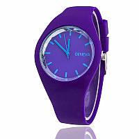 Стильные женские часы Geneva силиконовый ремешок (Фиолетовые)