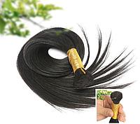 Славянские волосы в срезе для наращивания 90 см черный #1