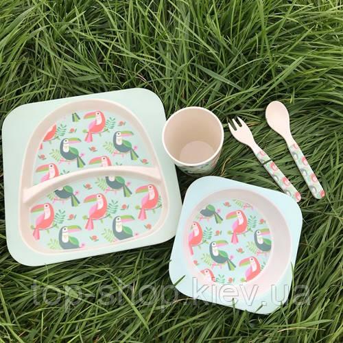 Бамбуковая посуда тукан детский набор Eco Bamboo 5 предметов