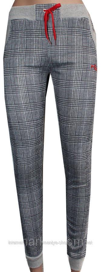 Спортивные штаны женские на манжете клетка 44-54 полубатал (деми)