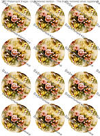 Вафельная картинка цветы для капкейков
