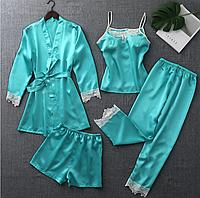 """Комплект атласных пижам 4в1, набор шелковых пижам """"Диана"""""""