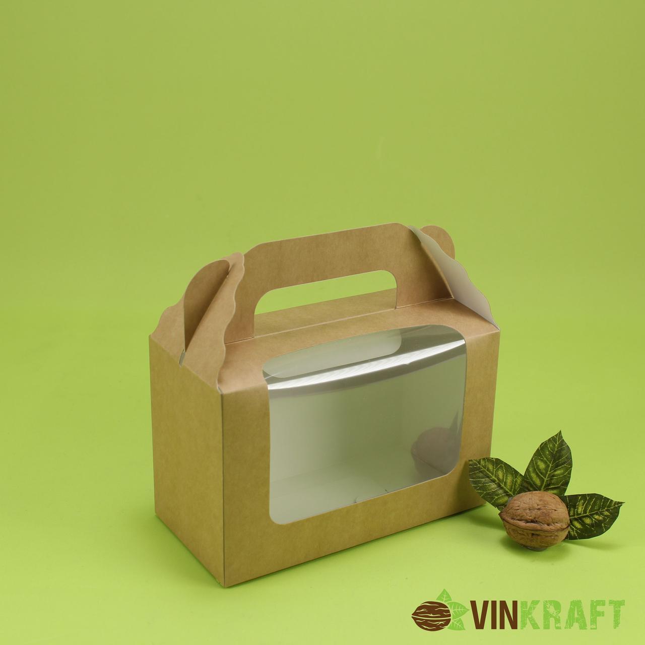 Подарункова коробка 165*80*105  вікном, крафт