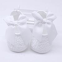 Нарядные пинетки для новорожденной девочки  на крещение, на праздник р.12(на 3-6 мес.), р. 13 (на 7-10 мес.), фото 1