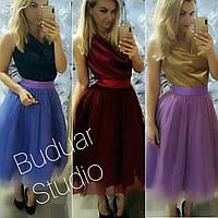 Костюм женский 2-ка (фатиновая юбка пачка + блуза), нарядный, модный, эффектный, от 42 до 48 размера