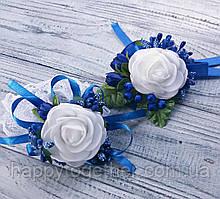 Бутоньерки на свадьбу свидетелю и свидетельнице (пара) синие