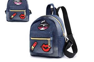 Міський джинсовий міні рюкзак, фото 2