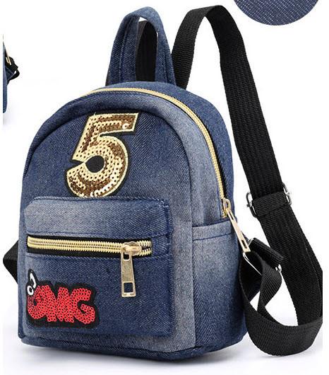 Городской джинсовый мини рюкзак