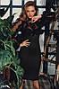 Вечернее платье облегающего кроя с сеткой цвет черный, фото 3