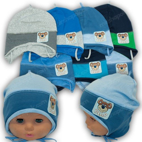 ОПТ Дитяча трикотажна шапочка на зав'язках, р. 42-44 (5шт/упаковка)