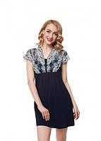 Сорочка нічна жіноча темно-синього кольору із серії віскоза, для сну,  ELLEN, LND 172/005